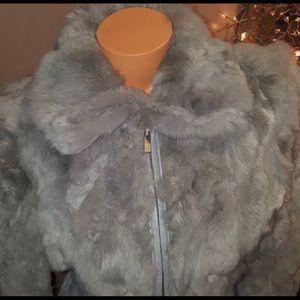 Bebe rare 100% Rabbit fur & leather jacket